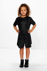 Boohoo Metallic Spot Playsuit Black