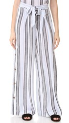 Re Named High Waist Pants White Blue
