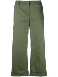 P.A.R.O.S.H. Cropped Straight Trousers Women Cotton Spandex Elastane M Green