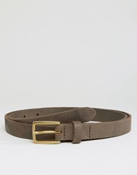 Asos Skinny Leather Belt With Vintage Finish Brown