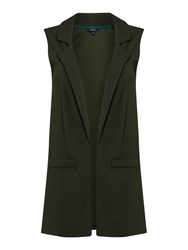 Therapy Sleeveless Textured Jacket Khaki