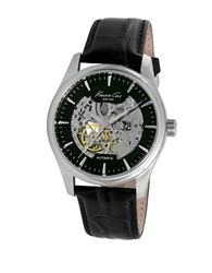 Kenneth Cole Automatic Skeleton Black Leather Strap Watch 10027199