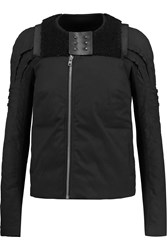 Rick Owens Eliel Shearling Paneled Cotton Blend Jacket Black