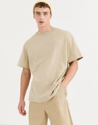 Weekday Relaxed Fit T Shirt In Beige