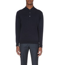 John Smedley Merino Wool Polo Shirt Midnight