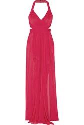 Marchesa Draped Silk Chiffon Halterneck Gown Purple