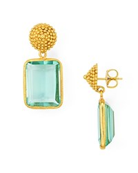 Julie Vos D'argent Beaded Cap Drop Earrings With Blue Quartz Green Gold