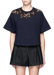 3.1 Phillip Lim Floral Lace Applique Boxy T Shirt Blue