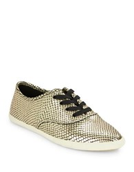 Marc By Marc Jacobs Carter Embossed Leather Sneakers Gold