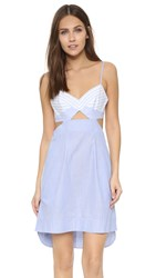 Bcbgmaxazria Cutout Dress Celestial Blue White