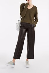 Helmut Lang Leather Wide Leg Trousers Black