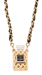 Wgaca What Goes Around Comes Around Chanel Quilted Perfume Necklace Black Gold