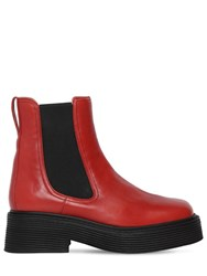 Marni 40Mm Millerighe Leather Ankle Boots Red