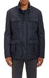 Isaia Hooded Flannel Field Coat Blue