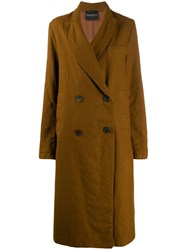 Erika Cavallini Long Double Breasted Coat Brown