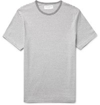 Officine Generale Slim Fit Striped Cotton Blend Jersey T Shirt Gray