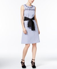 Yyigal Embroidered Cotton Shift Dress A Macy's Exclusive Dusty Blue