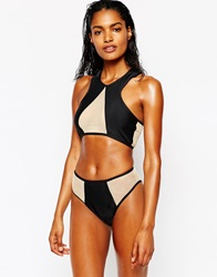 Jaded London High Leg Mesh Insert Bikini Bottom Black