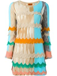 Missoni Scalloped Fringe Knitted Dress Multicolour