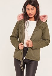 Missguided Khaki Short Faux Fur Hooded Parka Coat