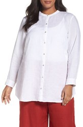 Eileen Fisher Plus Size Women's Organic Linen Shirt White