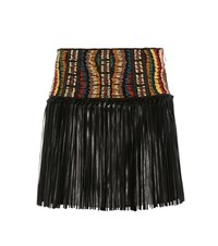 Valentino Beaded Leather Skirt Black