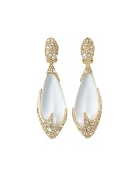 Alexis Bittar Long Crystal Encrusted Teardrop Clip On Earrings Silver