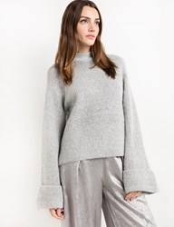 Pixie Market Wide Sleeve Grey Sweater