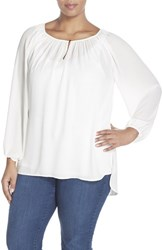 Plus Size Women's Vince Camuto Shirred Neck Peasant Blouse White