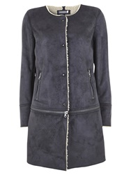 Mint Velvet Suedette Faux Sheepskin Lined Coat Granite