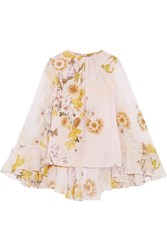 Giambattista Valli Cape Back Ruffled Printed Silk Chiffon Blouse Ivory