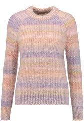 Michael Kors Collection Striped Mohair And Silk Blend Sweater Lilac