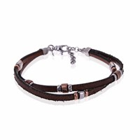 Think Positive By Antonio Marsocci Men's Sterling Silver Twisted Brown Leather Insert Silver Bracelet