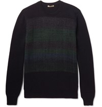 Bottega Veneta Jacquard Panelled Cashmere Sweater Midnight Blue