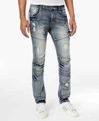 Reason Men's Baltic Skinny Fit Ripped Moto Jeans Blue