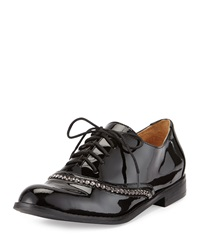 Badgley Mischka Larke Patent Leather Lace Up Oxford Black