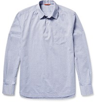 Barena Half Placket Cotton Jacquard Shirt Navy