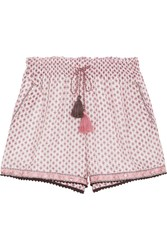 Talitha Tasseled Embellished Printed Cotton And Silk Blend Gauze Shorts Pink