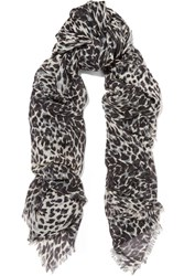 Saint Laurent Leopard Print Cashmere And Silk Blend Scarf Black