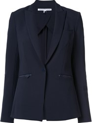 Veronica Beard Zip Pocket Blazer Blue