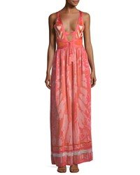 Talitha Collection Plunging Tie Dye Camisole Maxi Dress Coral