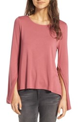 Women's Bp. Split Sleeve Tee Pink Mauve