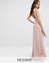 Tfnc Wedding High Neck Maxi Dress With Embellished Low Back Pale Mauve Pink