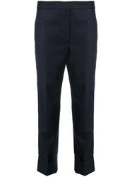 Thom Browne Cropped Tailored Trousers Silk Wool Blue