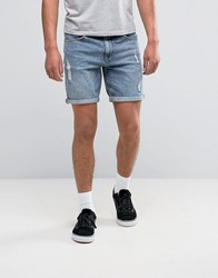 Asos Denim Shorts In Slim With Light Blue Wash And Abrasions Blue Acid