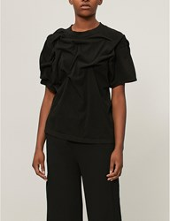 Aganovich Pleated Cotton Jersey T Shirt Black