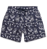 Vilebrequin Mistral Mid Length Embroidered Swim Shorts Navy