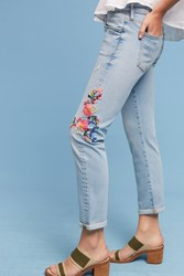 Anthropologie Pilcro Floral Embroidered Mid Rise Ankle Jeans Denim Light