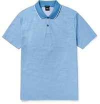 Hugo Boss Piket Slim Fit Cotton Pique Polo Shirt Blue