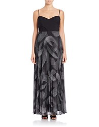 Laundry By Shelli Segal Sleeveless Printed Skirt Gown Black Multi
